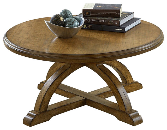 Liberty Furniture Town Country 36 Inch Round Cocktail Table In Oak Light Wood Traditional