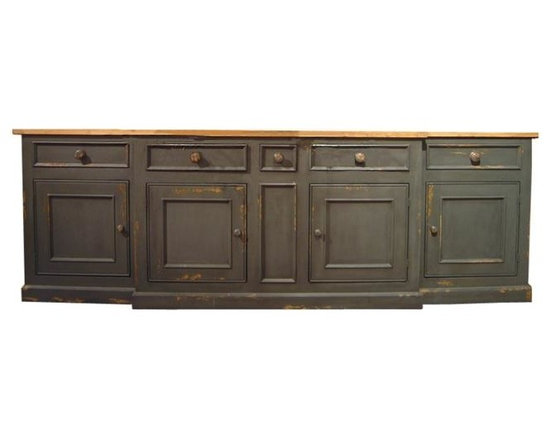 British Traditions - Large 3-Section Sideboard w 5 Drawers & 3 Cabinets (French Gray) - Finish: French Gray. Each finish is hand painted and actual finish color may differ from those show for this product. Large 3-section sideboard. Unattached unfinished butcher-block top. 1 Small and 4 large drawers. 1 Large cabinet base center. 2 Side base cabinets. Will need to be pushed together and base-top assembled and attached. 108 in. W x 19 in. D x 36 in. H (304 lbs.)The Monmouth Sideboard is our largest sideboard, and provides maximum storage space. It ships in three sections, in two boxes.
