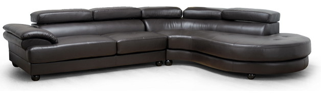 Baxton Studio Adelaide Brown Leather Modern Sectional Sofa (Right Facing Chaise) contemporary-sectional-sofas