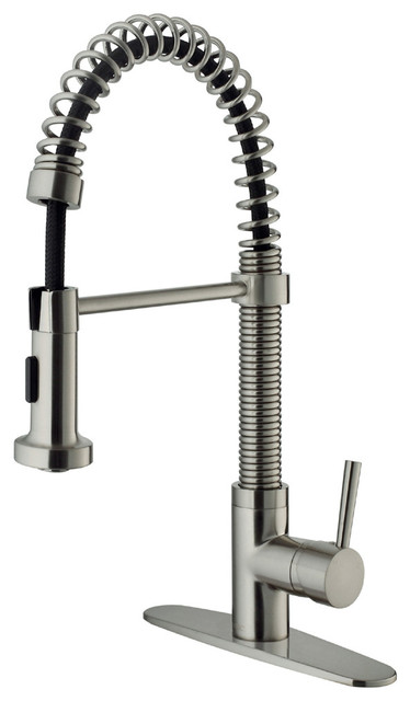 VIGO Stainless Steel Pull-Out Spray Kitchen Faucet with Deck Plate contemporary-kitchen-faucets