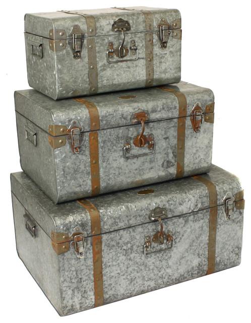 Diamond Galvanized Metal Decorative Trunk Cases And