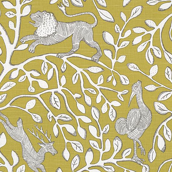 Yellow Modern Animal Motif Fabric modern-upholstery-fabric