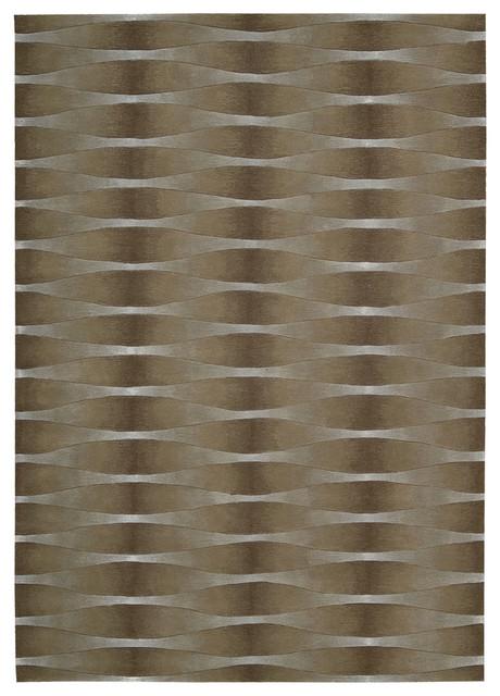 "Nourison Moda Khaki Contemporary Stripes 2'3"" x 8' Runner Rug by RugLots contemporary-rugs"