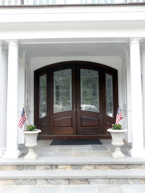 Arched Top Double Entry Door With Sidelights Traditional