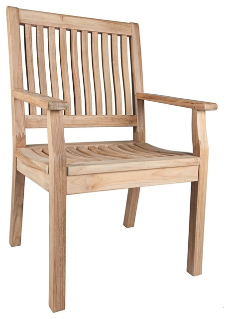 Transitional Bermuda Teak Wood Outdoor Dining Armchair contemporary-outdoor-lounge-chairs