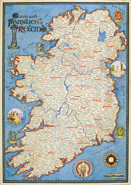 Map Of Ireland: Genealogy Maps of Ireland traditional artwork