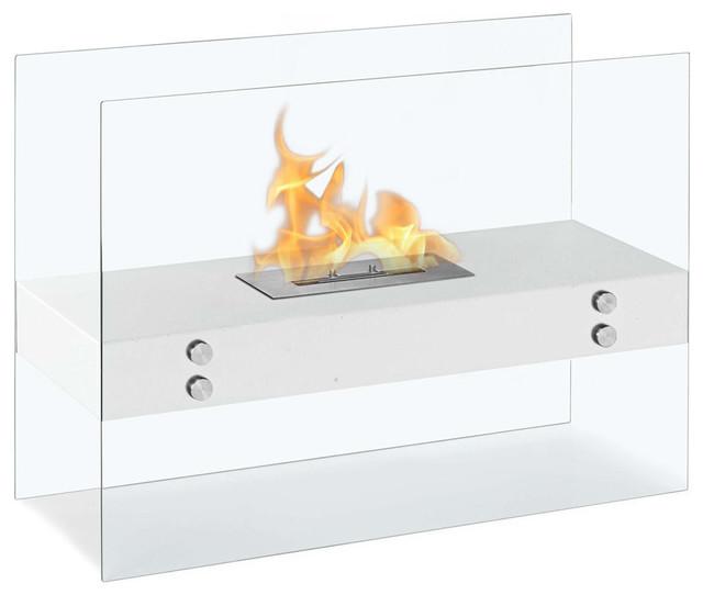 Vitrum H White Freestanding Ventless Ethanol Fireplace modern-fireplaces