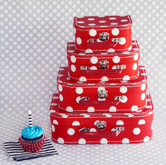 Red Polka Dot Paper Suitcases traditional-storage-bins-and-boxes