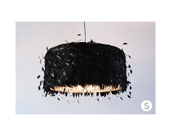 Eco Friendly Furnture and Lighting - Black and Iridescent feathers, Acrylic, Crystals, Rhinestones
