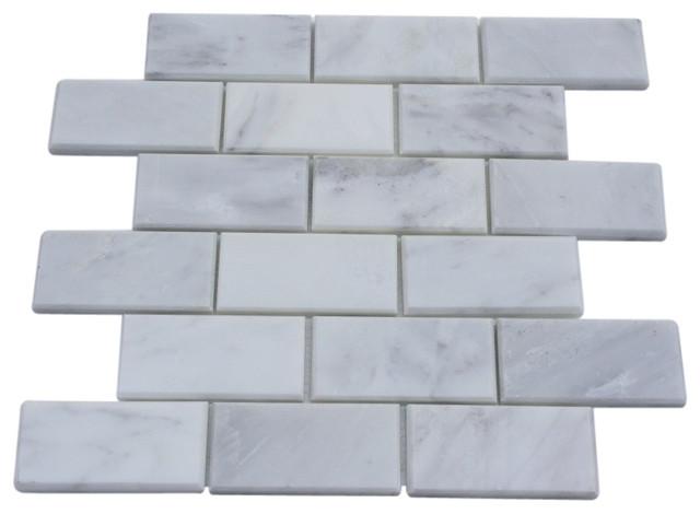 Asian Statuary Beveled 2x4 Marble Tile contemporary-tile