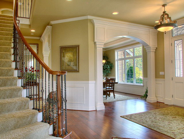 Houzz Traditional Foyer : Foyer and dining room traditional entry by john f