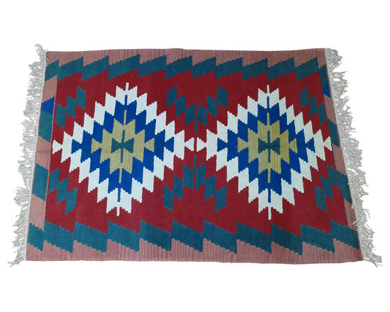 "Turkish Kilim Area Rug Hand Loomed Wool - Hand loomed wool kilim rug is an attractive, colorful decorating addition to any room of your home.  Being hand loomed with hand spun wool and knotted fringe, it is a much more valuable rug than typical machine made carpets.  Carpet is a heavy-weight wool measuring approximately 45-1/2"" wide by 63"" long."