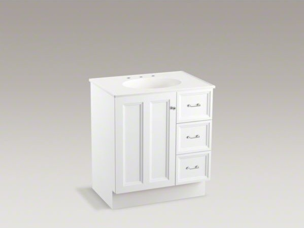 Kohler Damask Tm 30 Vanity With Toe Kick 1 Door And 3 Drawers On Right Contemporary