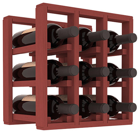 9 Bottle Counter Top/Pantry Wine Rack in Pine, Cherry Stain contemporary-wine-racks