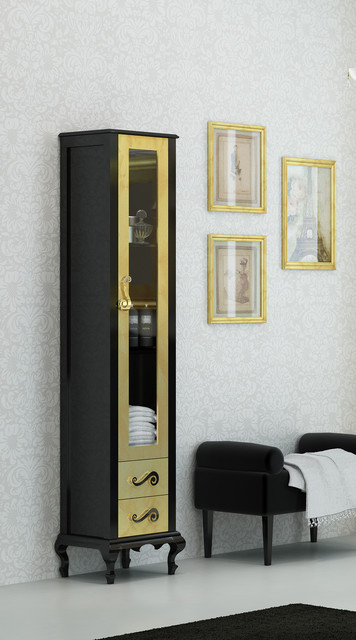 Macral Venezia 16 and 1/8 inches. tall linen cabinet. Black-gold fantasy - Traditional ...