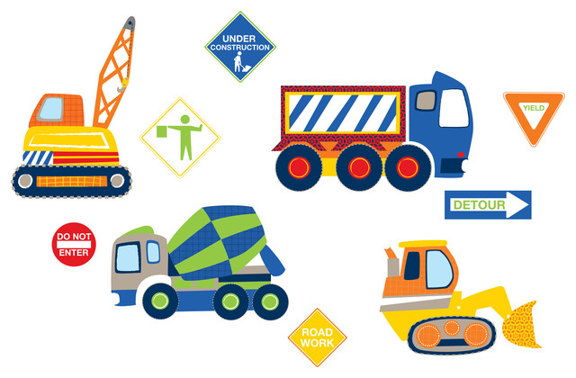 Construction Zone Wall Decals Contemporary Kids Wall Decor By Wallpops