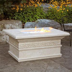 Mediterranean Luxury Fire Pit Table with Keys Trim mediterranean-firepits