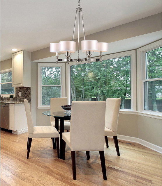 Contemporary polished nickel chandelier in transitional for Best dining rooms houzz