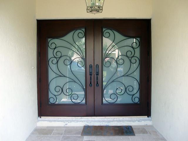 Solid Wood Iron Double Doors mediterranean-front-doors