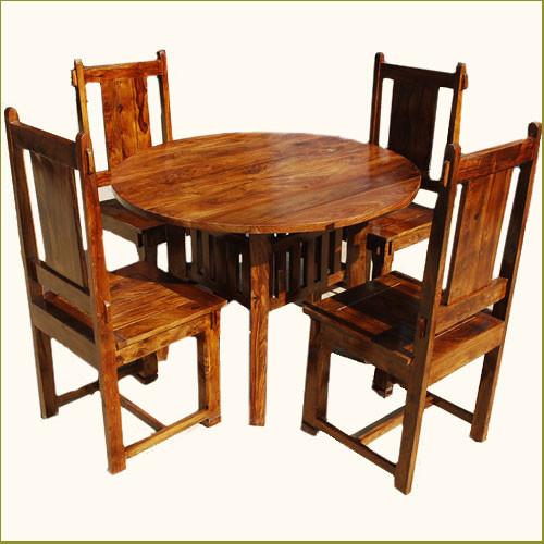 Transitional Dining Room Table: Santa Cruz 5pc Round Transitional Dining Room Table Chair