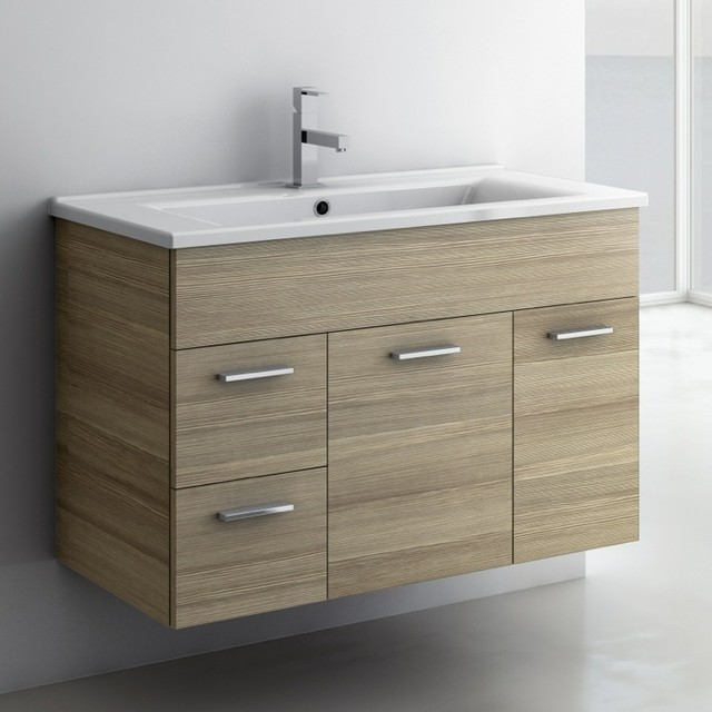 32 inch vanity cabinet with fitted sink contemporary for Bathroom cabinets 33