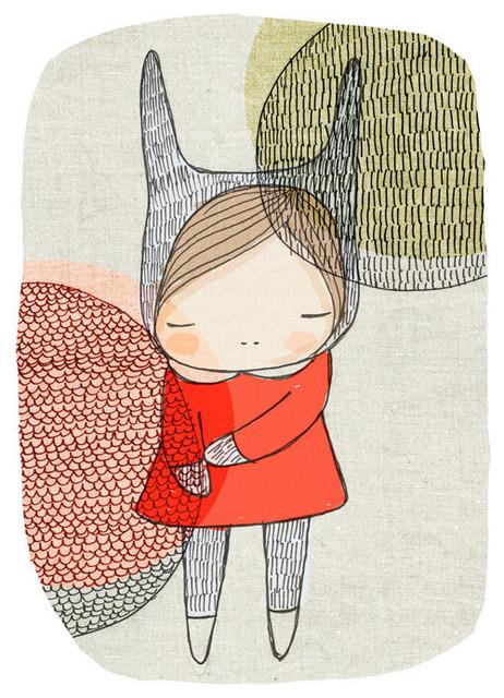 Bunny Art Print For Children Scandinavian By honey cup contemporary-artwork