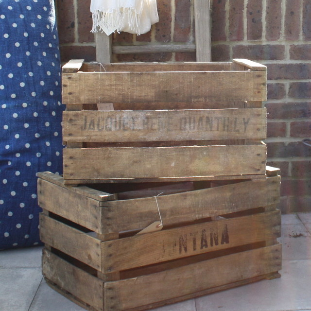 Vintage wood crates rustic decorative boxes by design vintage - Decorative wooden crates ...