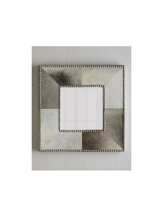 Jamie Young - Jamie Young Studded Hairhide Mirror - Exclusively ours. Take a classic square mirror, dress it in natural hairhide, accent it with large silvery nailhead studs, and you have a statement piece that makes a dynamic focal point as it gives the illusion of depth to flat walls. Wood frame wra...