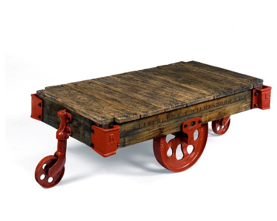Wright Table Company - The No. 660 Cart Cocktail Table, Weathered Oak, Red & Black Hardware -