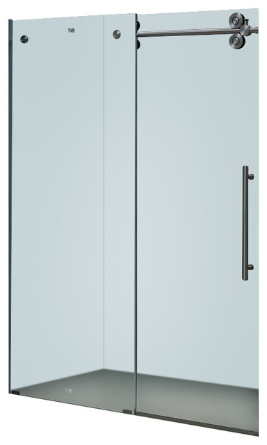 Vigo 48-inch Frameless Shower door 3/8in.  Frosted Glass Stainless Steel Hardwar contemporary-showerheads-and-body-sprays