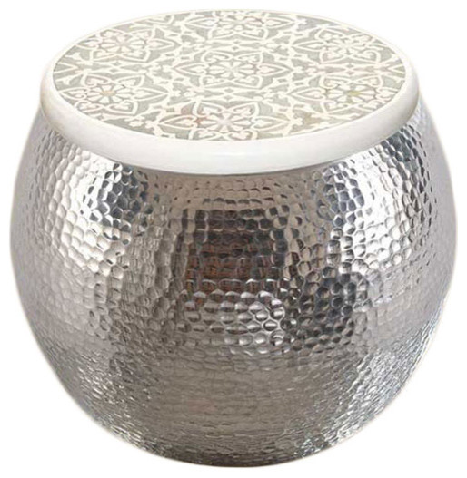 Aluminum Pouf Inlay Stool eclectic-footstools-and-ottomans