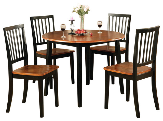 Steve silver branson 5 piece double drop leaf dining room for Traditional black dining room sets