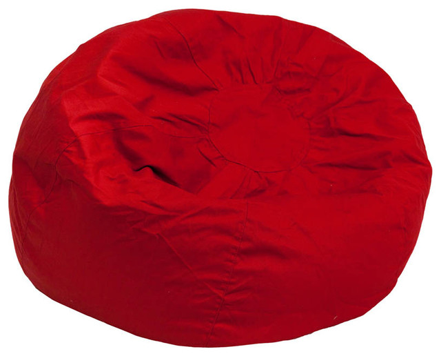 Oversized Solid Red Bean Bag Chair Contemporary Bean