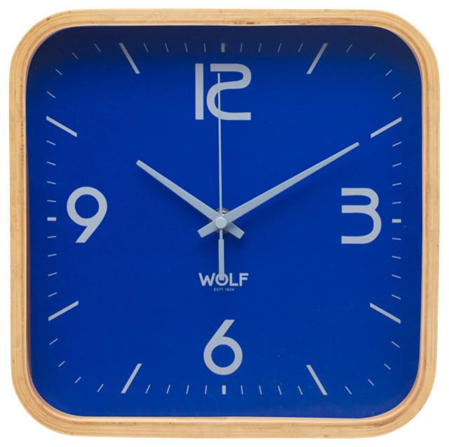 Square Wall Clock Blue Modern Clocks By Wolf