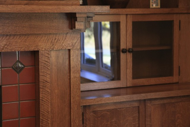 Custom Woodworking - Fireplace Mantel with Bookcases and Television Cabinet. - Craftsman - new ...