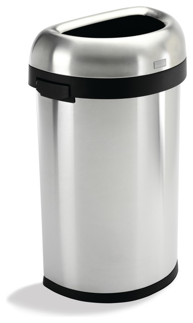 60 Litre Semi-Round Open Can - Modern - Trash Cans - by simplehuman