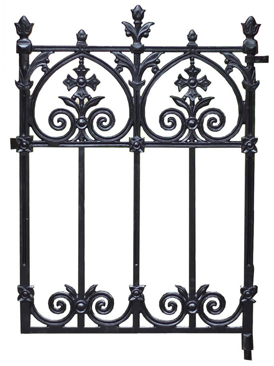 Heritage Cast Iron USA - Terrace Pedestrian/Garden Gate - Solid Cast Iron Decorative Victorian Garden Gate. Weight is 99 pounds. Includes hardware for mounting on customers posts. Finish is flat black, suitable for installation as - is or can be top coated with water based or oil based paints after installation.