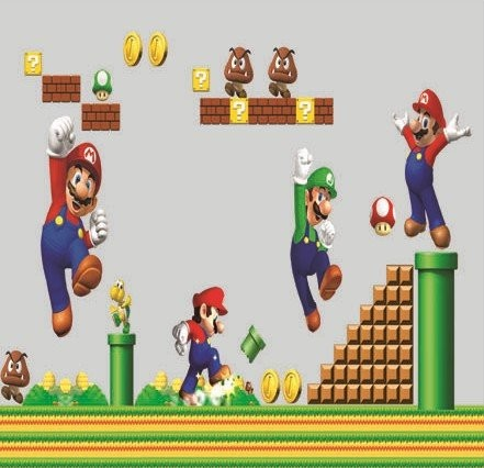 Super mario bros wall decal decor peel and stick mural asian wall decals by amazon - Mario wall clings ...