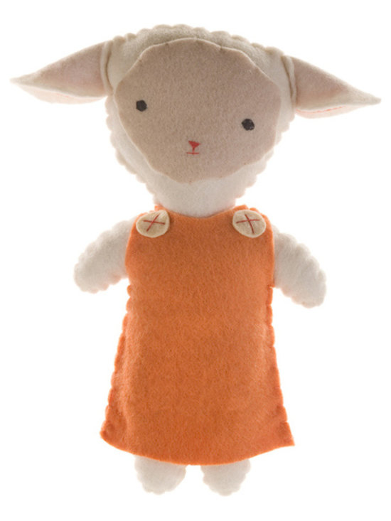 Kata Golda - Stuffed Companion - Lamb, Girl - Kata Golda's Stuffed Companions make adorable playtime and cuddle pals. Hand-stitched with cotton thread and soft, hand-dyed wool felt, their hand-embroidered details make each one unique. Care: Gently spot wash with cold water by hand. Detergents can cause the wool to fade, so use caution and test in an inconspicuous area first.  Do not place items in the dryer; they will shrink.