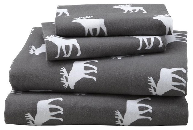 Goodnight Moose Flannel Sheet Set Contemporary Kids