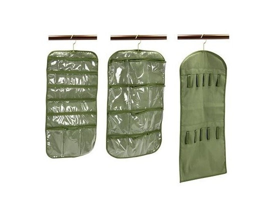 Household Essentials - Accessory Storage 3-piece Set, Green - Our 3-piece Accessory Storage Set in green color stores all your accessories in an organized manner. The stocking organizer has two sides to meet your needs with both medium and large size pockets. Hosiery and socks slide comfortably inside 12 clear-view pockets on one side while the other side can hold swimwear and lingerie in two oversized pockets.