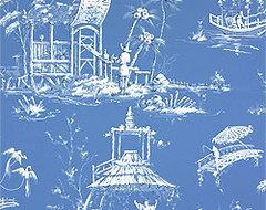 Tea House Meridian Wallpaper, Blue asian-wallpaper