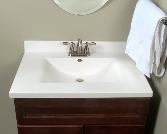 """Imperial Satin Stone Vanity Top - Wave style sink, 1 1/2"""" thick, beveled edge, solid surface technology, lustergloss finish. Feels and looks like Corian for a fraction of the price. Available in 22"""" and 19"""" depths. 25"""", 31"""", 37"""", 49"""" lengths. Also available in custom sizes and 68 colors."""