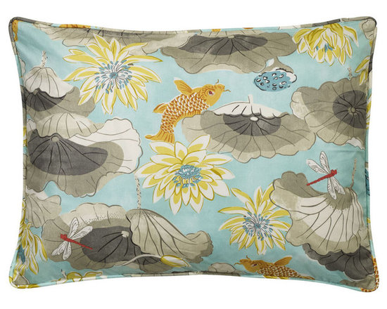 """Mystic Valley Traders Shangri-la - Sham - The Shangri-la sham is fashioned from the Lagoon fabric on each side, and finished with self piping; sold flat (without fills); king 20""""x36"""""""