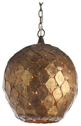Osgood Iron Pendant Light Fixture Arteriors Home Antique Gold Leaf Moroccan tropical-pendant-lighting