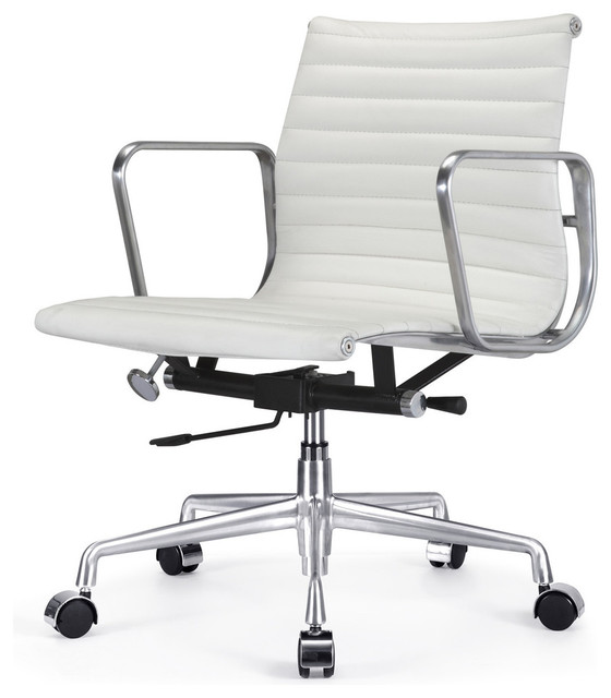 M341 Eames Style Aluminum Group Office Chair In White Leather Modern Offi