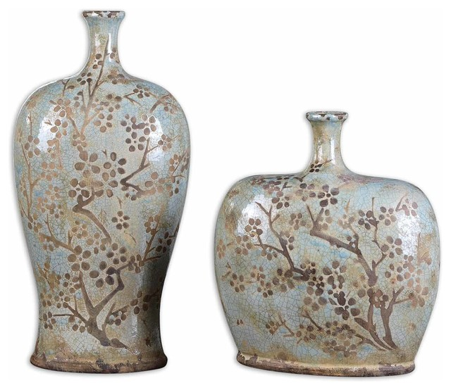 Citrita Decorative Ceramic Vases Set Of 2 Asian Vases By Fratantoni Lifestyles