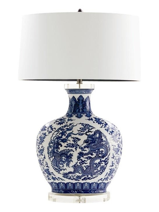 Arteriors - Dragon Lamp - The classic look of a blue and white patterned ginger jar never goes out of style. Chinese prints pair beautifully throughout the home and look especially sharp with a crisp white shade made of silk and lined in navy blue. It's an easy design to work into your living room, office or bedroom.