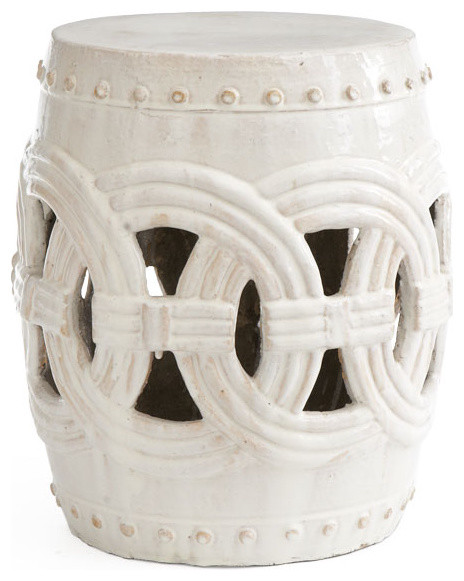 Interlocking rings stool white traditional accent and for White garden stool