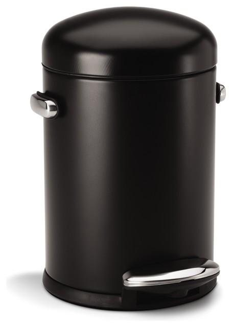 4 5 litre retro step can black steel modern trash